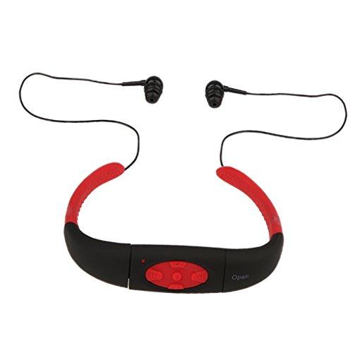 MagiDeal Wasserdichte Headset Ohrbügel Hörmuschel mit MP3 Player für Schwimmen, Surfen - Rot - 4G
