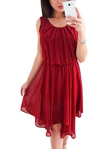 "The Aron ONE Damen Sommerkleid Elegant Rundhals Ã""rmellos Plain Chiffon Elastische Taille Plissee Midikleid Strandkleid Knielang Abendkleid Cocktailkleid Kurz Party Kleid (Rot, Large)"