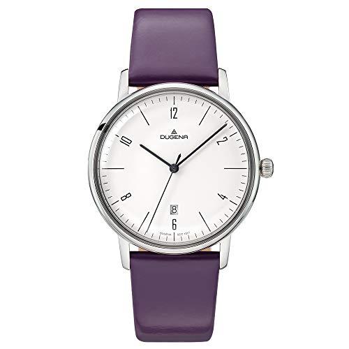 Dugena Damen Quarz-Armbanduhr, Gehärtetes Mineralglas, Lederarmband, Dessau Color, Lila/Silber, 4460786
