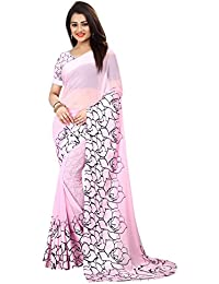 SilverStar Women's Georgette Pink Color Sartin Print Border Designer Saree With Blouse Piece