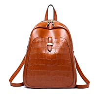 Mzdpp Simple Style Soft Pu Backpack Casual Solid Color Girls Crocodile Pattern Backpack Style School Bags