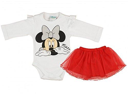 Mädchen BABY-SET 2-teilig von Minnie Mouse in GRÖSSE 62, 68, 74, 80, 86, Baby-Schlafanzug mit Druck-Knöpfen, Spiel-Anzug mit Baby-Body und Tüll-Röckchen, super süßer Rock Größe 62 (Minnie Rock)