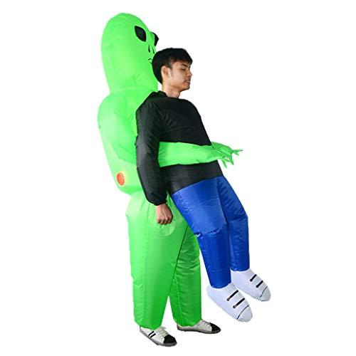 BINGMAX Aufblasbare Halloween-Party-Kleid-Grün-Ausländer holen mich Kostüm-Monster-Erwachsene ab, die lustige Props-Klage durchführend gehen (Mich Tragen Kostüm)