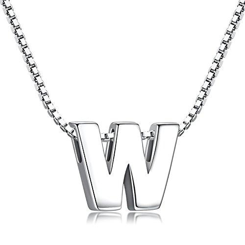 Buchstabenkette 925 Sterling Silber Name Halsketten Initialen Buchstabe Kette Anhänger Damen (Kette mit buchstabe W) (Halsketten Für Jungen)