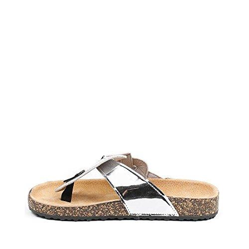 Ideal Shoes Nu-Pieds Vernis Style Orthopédique Fidja Argent