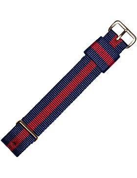 Uhrenarmband 18mm Textil dunkelrot blau - passend für Daniel Wellington Armbanduhren - inkl. Federstege & Werkzeug...