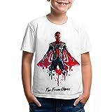 Camiseta Unisex para niños Superhéroe lejos de casa Camisa con Estampado Cosplay de superhéroes Lejos de casa Camiseta con Mangas Cortas para Mujeres Marvel Superhéroe Divertida Camiseta Deportiva
