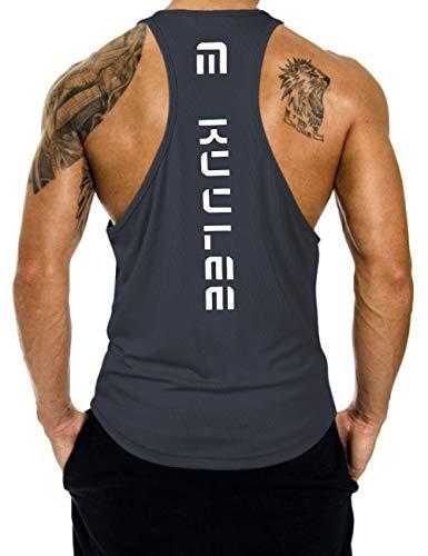 KUULEE Herren Gym Stringer Fitness Tank Top Herren Funktionelle Sport Bekleidung Bodybuilding T-Shirt Trainingsshirt ärmellos Weste Muskelshirt (Verpackung MEHRWEG)
