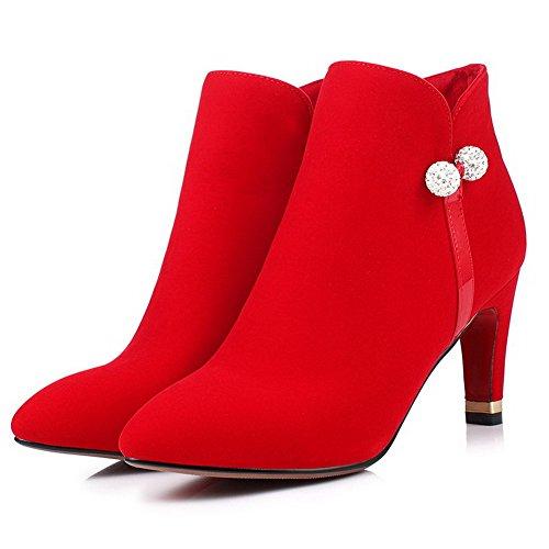 VogueZone009 Donna Puro Pelle Di Mucca Tacco Alto Cerniera Scarpe A Punta Stivali Rosso