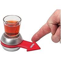 Rivenbert Spin The Shot - Juego para Beber | Vaso de chupito y Flecha giratoria | Color Plateado y Rojo by