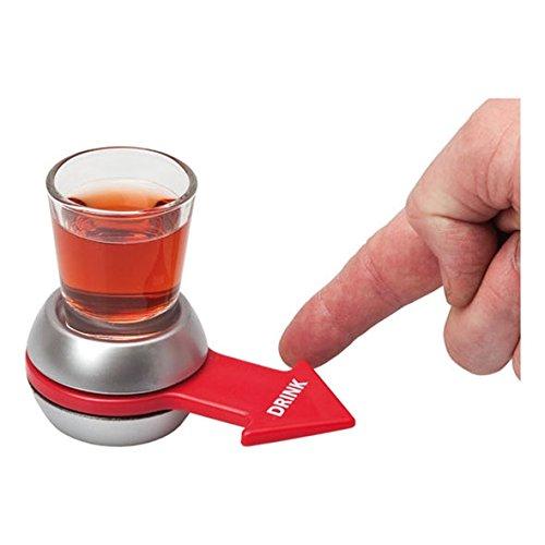 DeliaWinterfel Spin The Shot - Juego para Beber | Vaso de chupito y Flecha giratoria | Color Plateado y Rojo by