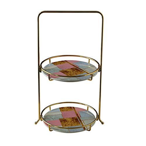 FeiQiangQiang Geschichtetes Partytablett, 2-lagiges Kuchenregal, Familienparty-Hochzeitstablett mit Kosmetik-Display for Obststände Lebensmittelregal (Color : A) Food Display-server