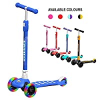 ANSIO Scooter for Boys and Girls, 3 Wheel Kids scooter, Toddler scooter with Adjustable Height, Kick Scooter, Multi-coloured LED Light Up Wheels, Aged 3+