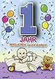 Archie Geburtstagskarte zum 1. Geburtstag Junge blau Glückwunschkarte Kinder
