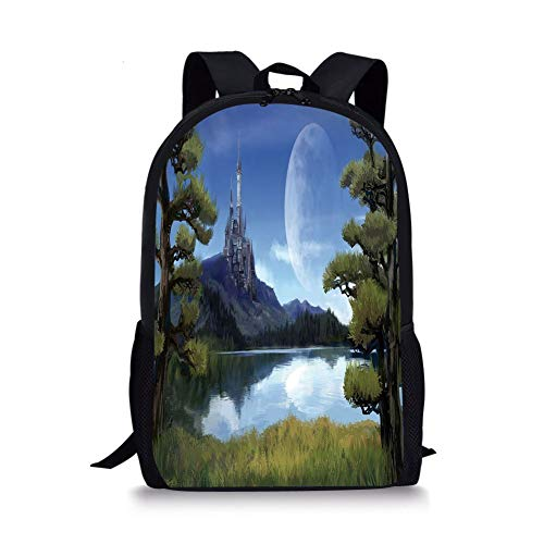 Decor,Moon Surreal Scene with Riverside Lake Forest and Medieval Castle on Hill Art,Green Blue for Boys&Girls Mens Sport Daypack ()
