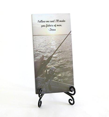Fischer von Herren Inspirierende Glas Plaque. Für Ihre Lieblings-Christian Liebt zu Fisch. Serenity für Ihren Schreibtisch, Zusammenklappbar Staffelei Enthalten. von Lifeforce Glas.