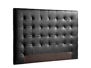 usinestreet t te de lit simili cuir polyur thane noir 160. Black Bedroom Furniture Sets. Home Design Ideas