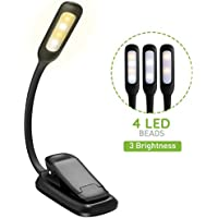 Topelek 4 LED 3 Brightness Modes Clip On Book USB Rechargeable Lamp, Flexible Eye-Care and Portable Music Stand Light for Night Reading in Bed [Energy Class A+], Black