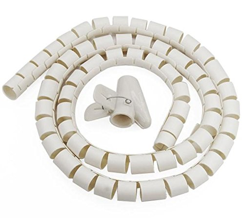New bianco 2metre ordina cavi kit PC TV Wire organizzatore Wrap strumento spirale Home Office