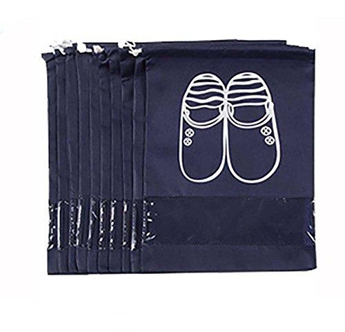 Fanaticism 10 Stück Schuhbeutel mit Zugband, 45*32cm, blau 10 Stück