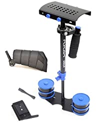 FLYCAM DSLR Nano Blue Handheld Mini Stabilizer with Arm Support Brace | Small Steadycam for DSLR Video Camera up to 1.5kg (DSLR-NANO-QR-BL)