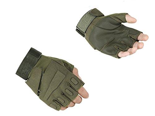 Leefrei Herren Taktische fingerlos Handschuhe Fahrradhandschuhe Motorrad Handschuhe Army Gloves Ideal für Airsoft, Militär,Paintball,Airsoft, Jagd (Grün, L) (Stil Fingerlose Handschuhe)