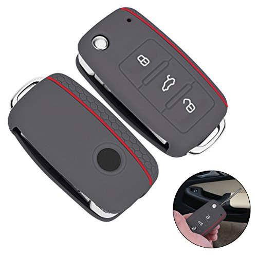 YoungRich Silicone Car Key Cover 3 Buttons Soft Rubber Flip Key Shell Case Remote Car Key Protection Cover Universal Shockproof Fashion Design Thin Anti-Scratch Grey
