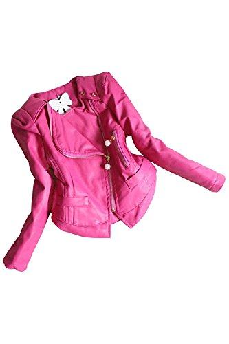 Maedchen Leder Jacken - SODIAL(R)Kinder Kleidung Fruehlings Herbst Mode Strickjacke Taschen Reissverschluss Prinzessin Spitze Perlen Maedchen Leder Jacken Mantel Oberbekleidung Rosa Rot 8 (Perlen-leder-jacke)