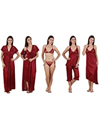 Freely Maroon color Satin Honeymoon wear - Pack of 6