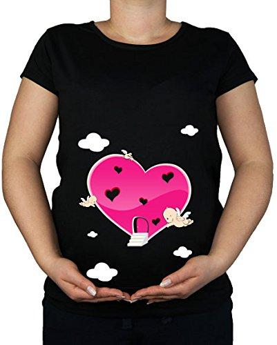 Für Frauen Green Lime Dress Shirt (Für die Schwangerschaft, Größe 36-46, Herz mit Engel Amor, Tunika Shirt Top)