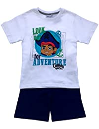 Kids Boys Official Disney Jake And The Neverland Pirates Short Pyjamas PJ's Set Shorts Sleeve Childrens Size 1-4 Years