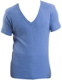 Pack de 3 Pour Homme/Sous-vêtement Thermique Bleu Pour Messieurs T-Shirt Col en V Maillot à Manches Courtes, Différentes Tailles