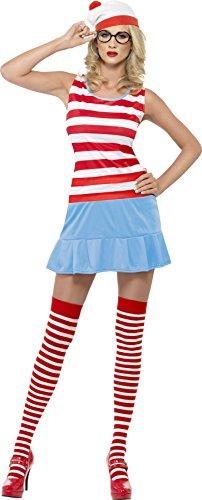 Smiffys Déguisement Femme, Où est Charlie? Félicie, avec robe, chapeau, lunette et bas autofixants, Taille 32-34, Couleur: Rouge et blanc, 25745