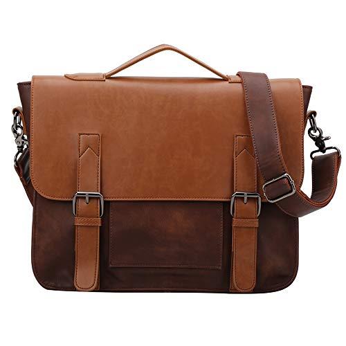 1ad4c1c410 GLITZALL Sac Bandoulière Messenger Bag Sac à bandoulière en Cuir PU 14  Pouces Laptop Briefcase Hommes