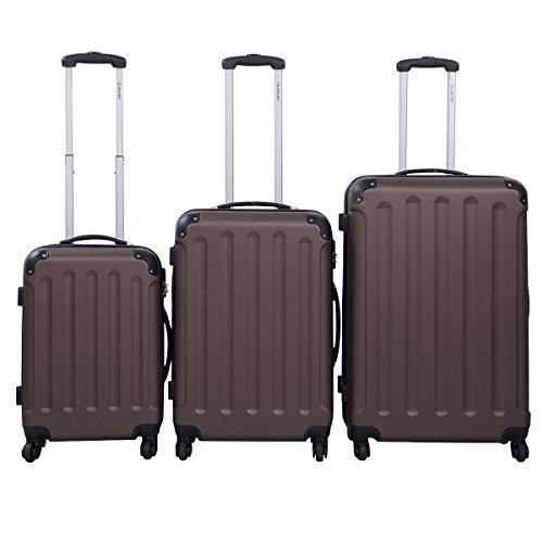 GLOBALWAY 3tlg.Reisekoffer Trolley Set Koffer Reise Kofferset ABS Set Hartschale (Braun ABS)