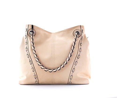 Große Damen Schultertasche, Modische Handtasche in den Farben beige, bronze, silber und pink Beige