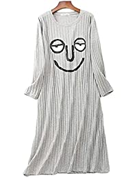 1753133a2bdc LIUYL Camicia da Notte da Notte in Cotone da Donna di Grandi Dimensioni  Camicia da Notte