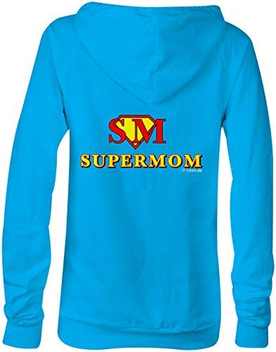 Supermom für die beste Mama zum Geburtstag Muttertag ★ Confortable veste pour femmes ★ imprimé de haute qualité et slogan amusant ★ Le cadeau parfait en toute occasion hellblau