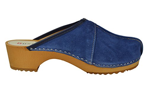 Buxa Zoccoli per le Donne in Legno / Pelle Scamosciata con Centrale Cucitura Blu