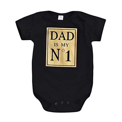 Livoral Gedruckt Overall Säugling, Neugeborenes Mädchen Alphabet einfachen Stil Overall(Schwarz,3-6 Monate)