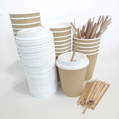 Extiff Juego de 100Vasos cartón Kraft Doble con Tapa y agitador agitadores para café para Llevar, Beige, 360 ml