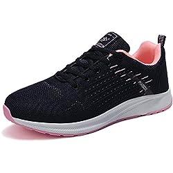 AX BOXING Zapatillas Hombres Mujer Deporte Running Sneakers Zapatos para Correr Gimnasio Deportivas Padel Transpirables Casual (37 EU, Azul Marino/Naranja)