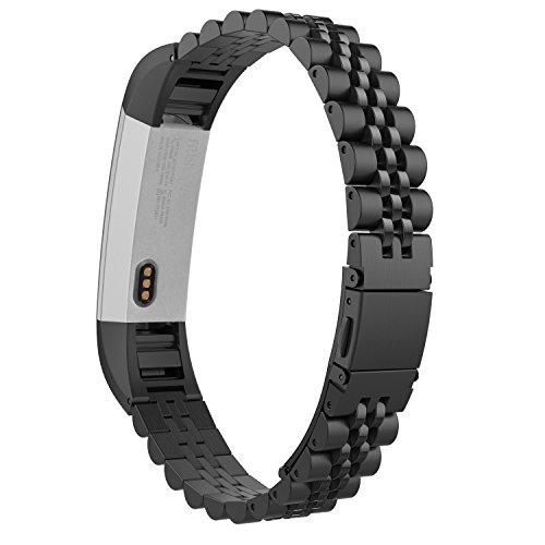 MoKo Fitbit Alta / Alta HR Watch Cinturino, Braccialetto in Acciaio Inossidabile con Connettore per Fitbit Alta / Alta HR Smart Fitness Tracker, Nero