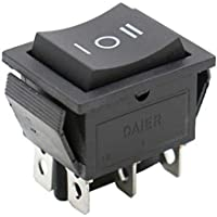 Heschen Interruptor basculante ON-OFF-ON momentáneo Terminales DPDT 6 16A 250VAC Negro 2 Pack