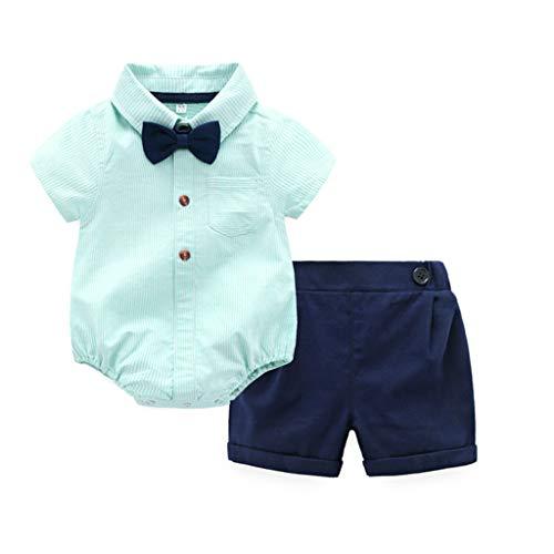 JUTOO 2 Stücke Set Infant Baby Boy Gentleman Anzüge Kurzarm Strampler Hemd + Shorts Outfit Set - Alpine Boy Kostüm