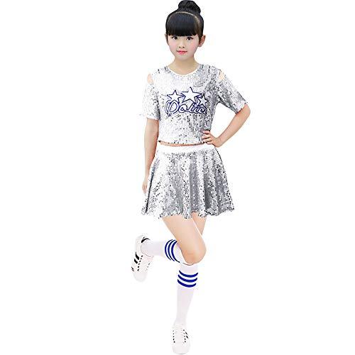 Jian E& Dance Wear-Pailletten Kinder Kostüme Herren und Damen Cheerleader Kostüme Kostüme Kostüme für Jugendbühnen - Gelb + Blau + Silber + Rot (Farbe : Silver(Female), größe : 110CM) (Blauer Cheerleader Kostüm Kinder)