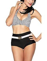 jowiha Vintage Wende Bikini in Rot/Weiß oder Schwarz/Weiß Größen S M L oder XL