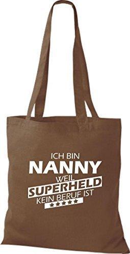 Shirtstown Stoffbeutel Ich bin Nanny, weil Superheld kein Beruf ist mittelbraun