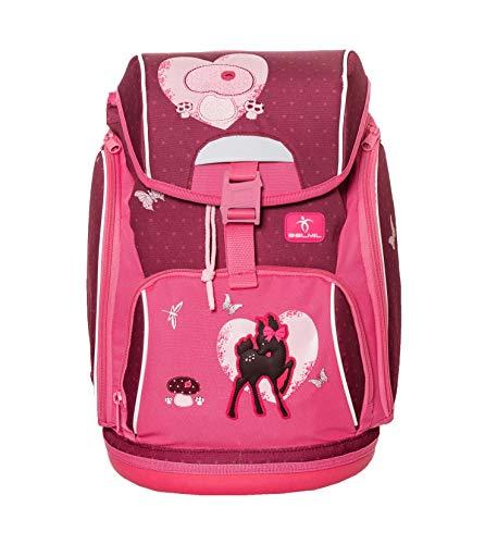 Belmil Ergonomischer Schulranzen mit Hüftgurt und Brustgurt für Schule, Outdoor und Reisen für Mädchen, 1.-4. Klasse/Pink, Rosa/Bambi, Deer, Ricke (404-31 Peace and Love)