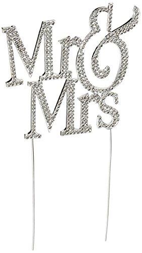 1 x Mr & Mrs Monogramm Silhouette Strass Hochzeit Kuchen Topper Dekoration mit Kristallen - formelle Schrift (Interracial Topper Cake)